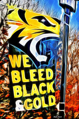 Towson Tigers Black And Gold Poster by Stephen Younts