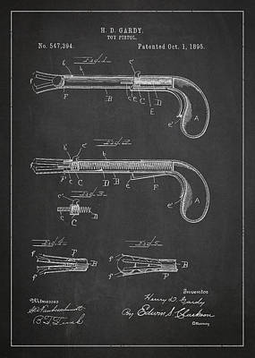 Toy Pistol Patent Drawing From 1895 Poster by Aged Pixel