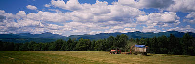 Tractor On A Field, Waterbury, Vermont Poster by Panoramic Images