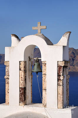 Traditional Belfry In Oia Town Poster by George Atsametakis