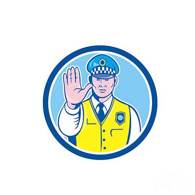 Traffic Policeman Hand Stop Sign Circle Cartoon Poster by Aloysius Patrimonio