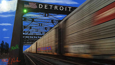 Trains Of Detroit Poster by Michael Rucker