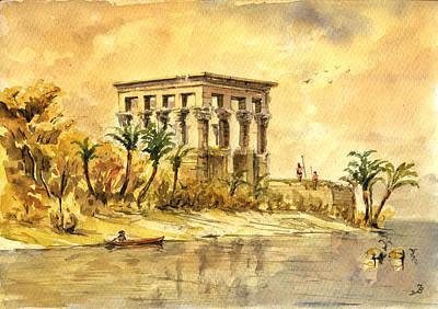 Trajan Kiosk Temple Aswan Egypt Poster by Juan  Bosco