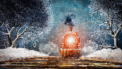 Traveling On Winters Night Poster by Bob Orsillo