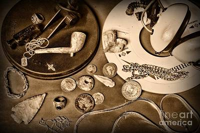Treasure Hunter -  Metal Detecting - Black And White Poster by Paul Ward