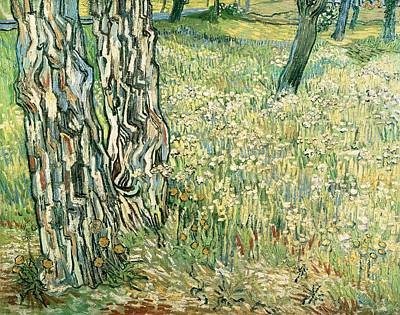Tree Trunks In Grass Poster by Vincent van Gogh