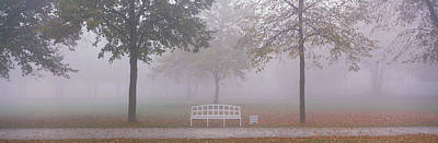 Trees And Bench In Fog Schleissheim Poster by Panoramic Images