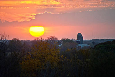 Trees And Farm Sunset, Wisconsin, Usa Poster by Panoramic Images