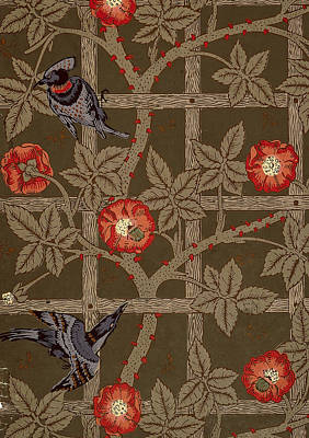 Trellis With Birds Poster by William Morris