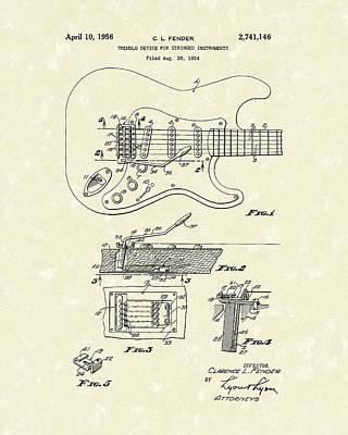 Tremolo Device 1956 Patent Art Poster by Prior Art Design