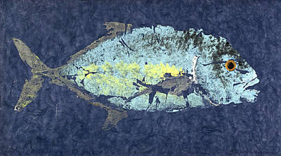 Gyotaku Trevally Poster by Captain Warren Sellers