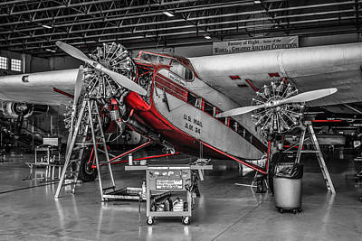 Tri-motor In Red Poster by Chris Smith