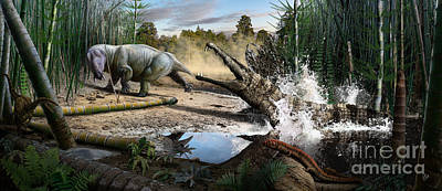 Triassic Mural 1 Poster by Julius Csotonyi