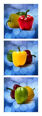 Triptych - Pepper Traffic Lights 2 Poster by Alexander Senin