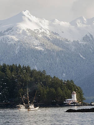 Troller Heads Out Of The Sitka Harbor Poster by Chris Miller