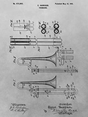 Trombone Patent Drawing Poster by Dan Sproul