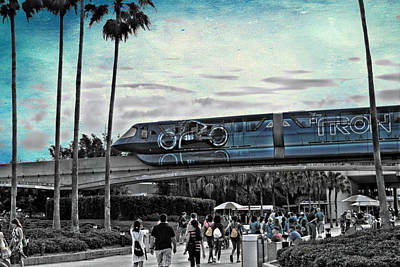 Tron Monorail Disney World In Sc Textured Sky Poster by Thomas Woolworth