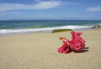 Tropical Beach Flower Poster by Aged Pixel