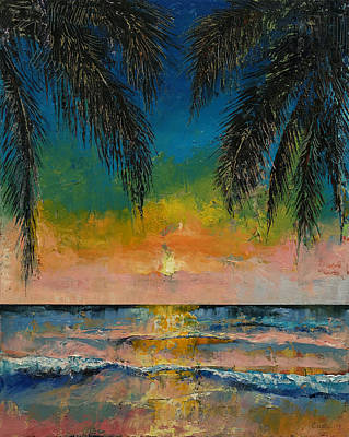 Tropical Sunset Poster by Michael Creese