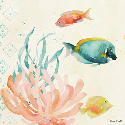 Tropical Teal Coral Medley II Poster by Lanie Loreth
