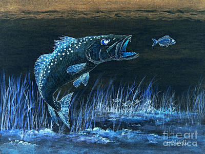 Trout Attack 1 In Blue Poster by Bill Holkham