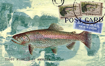 Trout Fishing In America Postcard Poster by Carol Leigh