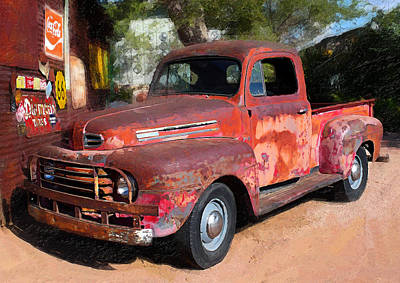 Truck And Hubcaps Poster by Ron Regalado