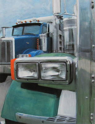 Trucks In Green And Blue Poster by Anita Burgermeister