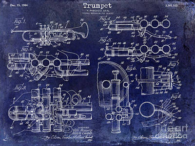 Trumpet Patent Drawing Blue Poster by Jon Neidert