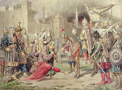 Tsar Ivan Iv Vasilyevich The Terrible 1530-84 Conquering Kazan, 1880 Wc On Paper Poster by Aleksei Danilovich Kivshenko