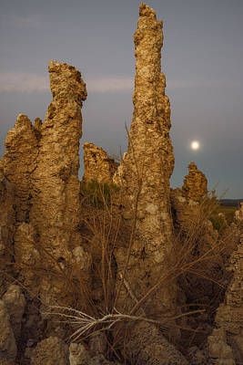 Tufas At Monolake And Full Moon Poster by Vishwanath Bhat