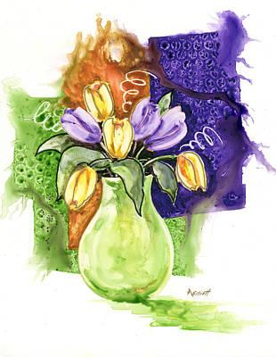 Tulips In A Green Vase Poster by Marsha Elliott