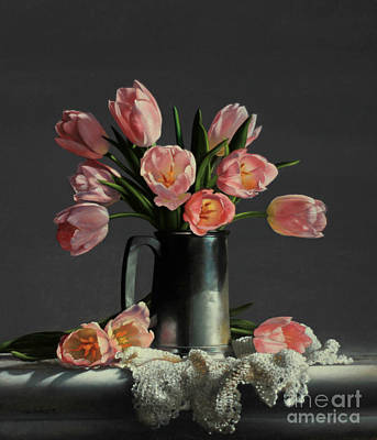 Tulips In A Pewter Mug Poster by Larry Preston