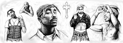 Tupac Shakur Long Drawing Art Poster Poster by Kim Wang
