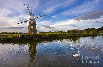 Turf Fen Drainage Mill Poster by Louise Heusinkveld