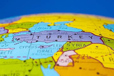 Turkey - Antique  Globe Map Travel Background Poster by Donald  Erickson