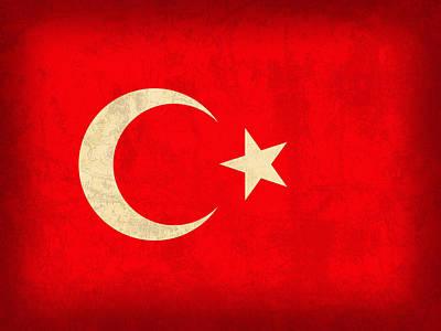 Turkey Flag Vintage Distressed Finish Poster by Design Turnpike