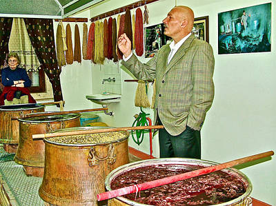 Turkish Rug Salesman Explains About Natural Dye Vats In Weaving Factory In Avanos-turkey  Poster by Ruth Hager