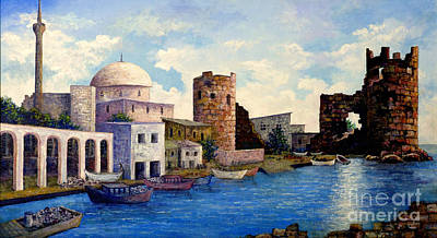 Turkish Ruins On The Med Poster by Lou Ann Bagnall