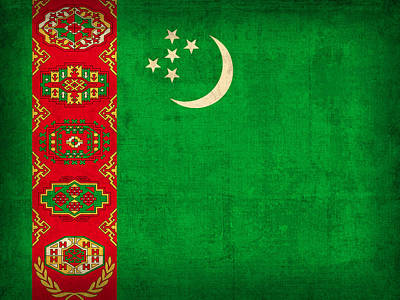 Turkmenistan Flag Vintage Distressed Finish Poster by Design Turnpike