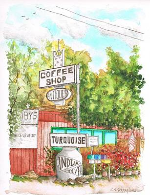 Turquois Coffee Shopp In Three Rivers - California Poster by Carlos G Groppa
