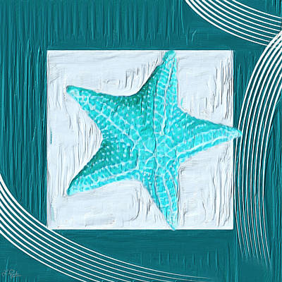 Turquoise Seashells Xviii Poster by Lourry Legarde
