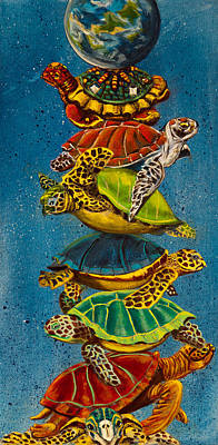 Turtles All The Way Down Poster by Susan Culver