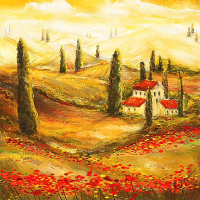 Tuscan Poppies - Tuscan Poppy Fields Impressionist Poster by Lourry Legarde