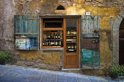 Wooden Poster featuring the photograph Tuscany Wine Shop by Al Hurley