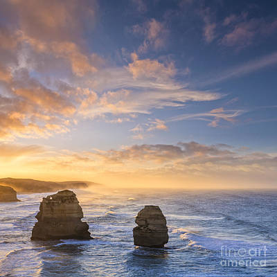 Twelve Apostles Sunrise Great Ocean Road Victoria Australia Poster by Colin and Linda McKie
