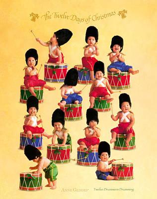 Twelve Drummers Drumming Poster by Anne Geddes