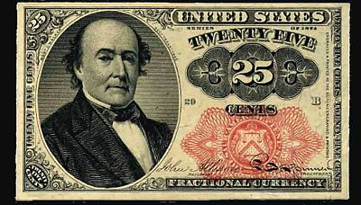 Twenty Five Cents 5th Issue U.s. Fractional Currency Poster by Lanjee Chee