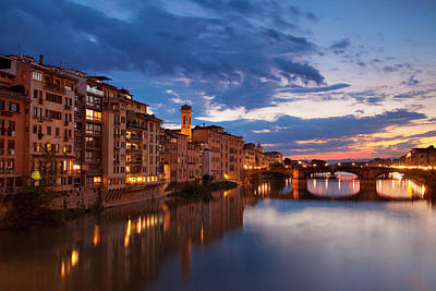 Twilight Over River Arno Poster by Brian Jannsen