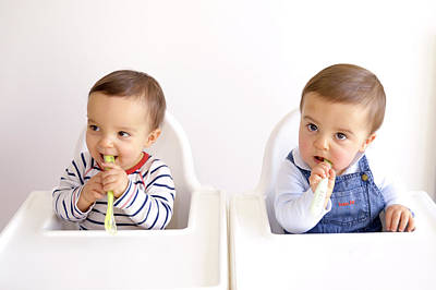Twin Baby Boys Playing With Spoons Poster by Aj Photo